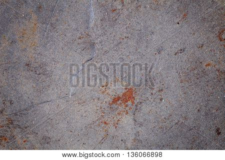 Messy iron sheet with rust and space for text