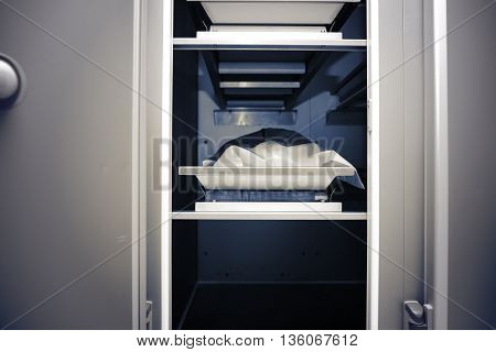 The refrigerating chamber at the hospital morgue