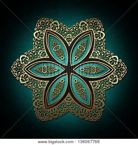 Abstract Background With Gold Ornament