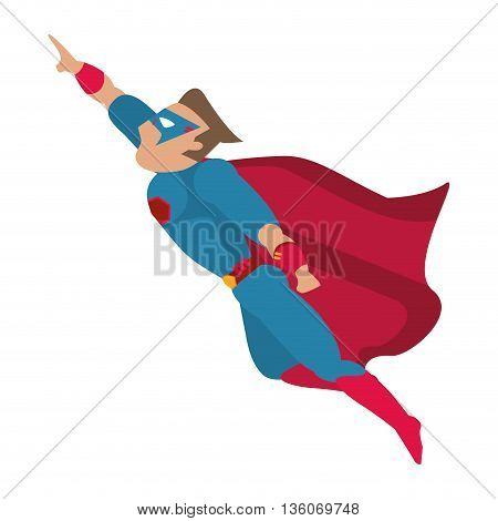 Superhero concept represented by male cartoon with disguise. Colorfull, isolated and flat illustration
