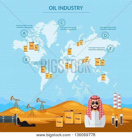 Oil industry infographics world oil trade sheiks in desert arab men eextraction and processing of oil vector illustration
