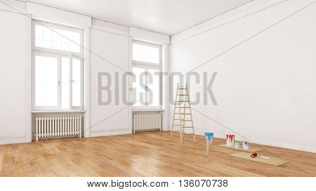 Dirty walls in room during renovation with ladder and paint buckets (3D Rendering)