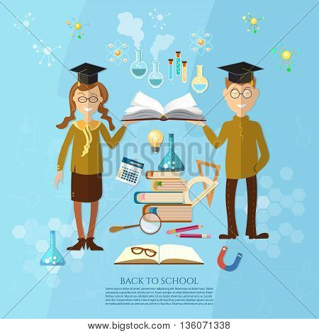 Education schoolboy and schoolgirl goes to school effective education power of knowledge stack of textbooks vector illustration