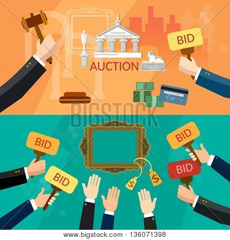Auction and bidding banners selling antiques sale paintings art object culture auction bidding concept vector illustration