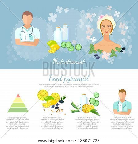 Dietetics infographics elements nutritionist healthy lifestyle proper nutrition female cosmetics vector illustration