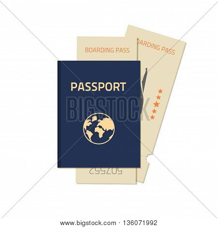 Passport with flight tickets vector illustration isolated on white background, flat blue closed passport with two tickets, concept of flight travel journey ready