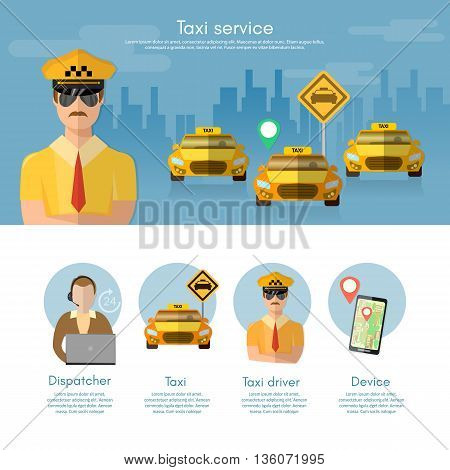 Taxi service banner taxi call book a taxi to the city dispatcher vector illustration