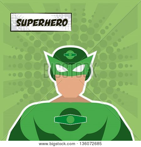 Superhero concept represented by male cartoon with disguise. Colorfull and flat illustration. Green background