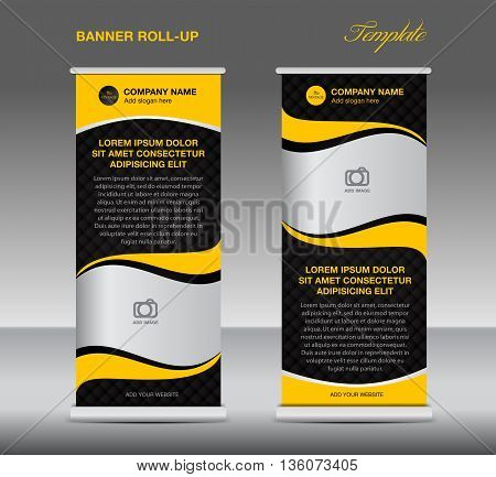 Yellow Roll up banner stand template vintage banner corporate design flyer template