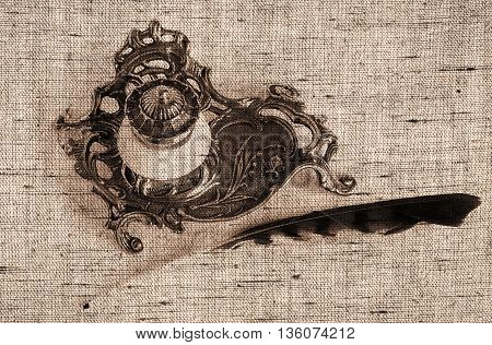 Sepia toned Antique Bronze inkpot with feather on white background with shadows - Made with canvas texture effect