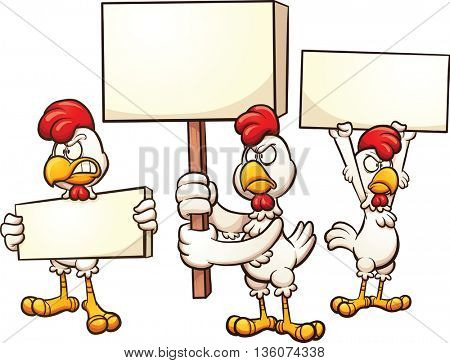 Cartoon chickens protesting. Vector clip art illustration with simple gradients. Each on a separate layer.