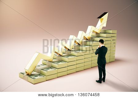 Financial growth concept with thoughtful businessman next to dollar banknote ladder and golden upward arrow on pinkish background. 3D Rendering