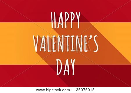 Long Shadow Spain Flag With    The Text Happy Valentines Day