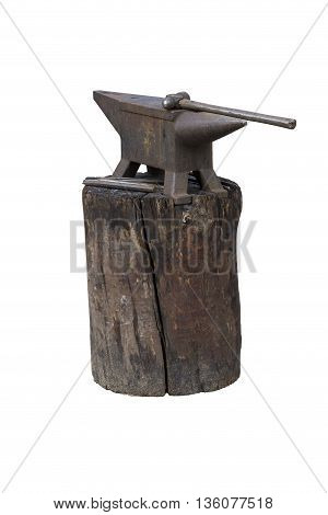 old anvil and hammer isolated on white