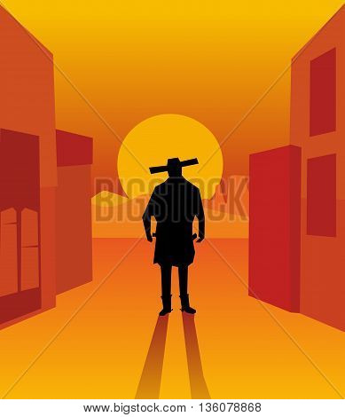 Wild west gunslinger. Background the city and the desert.