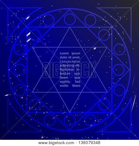 Star in deep blue sky in sacral geometry style. Cosmic star of David. Spirituality in art design of sacral geometry. Vector art.