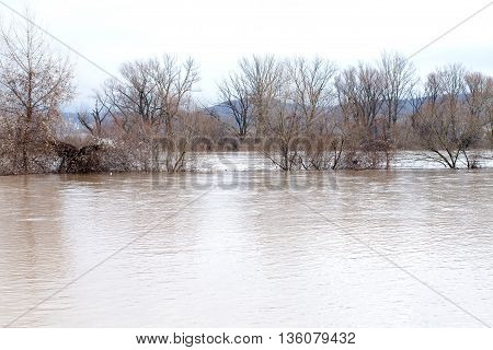 River burst its banks after heavy rains