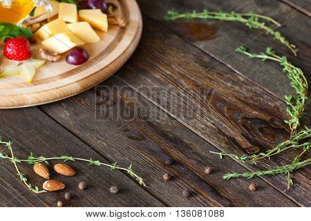Wood Frame Herbs Delicatessen Cheese Gourmet Decor Copyspace Advertisement Cuisine Void Concept