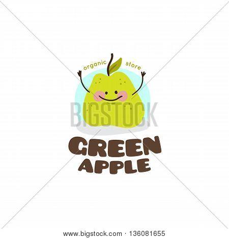 Vector green apple mascot logo. Cute healthy eating character symbol.