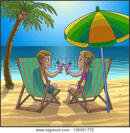 Summer tropical relax leasure scene on the beach. Happy couple are having fun on summer beach. Tourists on the beach. Vector Illustration.