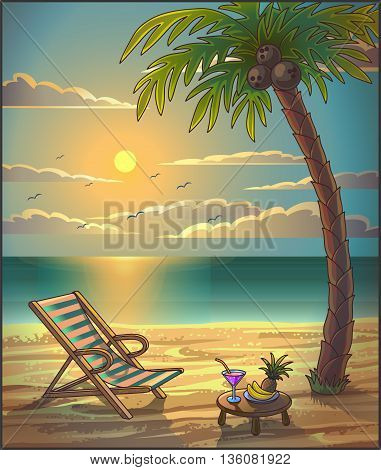 Summer relax leasure background. Sunset on the beach. Summer vacation concept background. Seaside view with a palm tree, beach chair and cocktail. Vector Illustration.