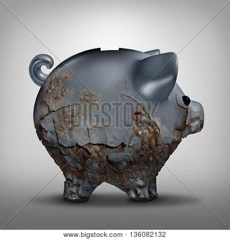 Savings decline and neglected investment as a finanancial business symbol as a metal piggy bank decaying with rust as a finance problem metaphor as a 3D illustration.