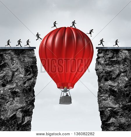 Opportunity manager and problem solver business concept as air balloon creating a support link to help a team of businesspeople cross towards a corporate goal to success with 3D illustration elements.