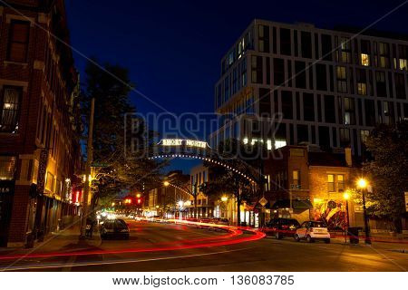 COLUMBUS, OHIO - JUNE 8, 2016:  The Short North district of Columbus, Ohio has a booming nightlife.  There are abundant restaurants and boutiques in this vibrant downtown area.