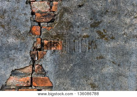 Old brick wall with crack. For Background