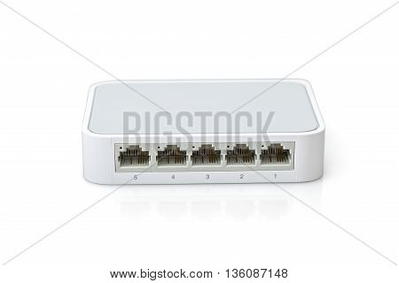 Switch Internet for up to five computers isolated on white