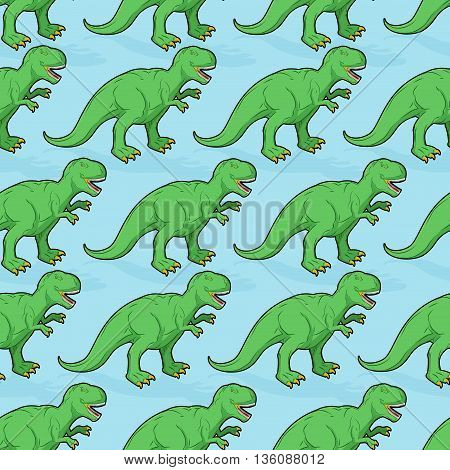 Tyrannosaurus Seamless Pattern. Angry Prehistoric Reptile Pattern. Ancient Animal Predator Backgroun