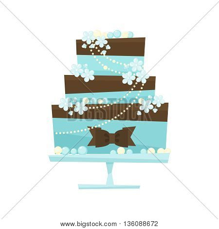 Wedding cake with chocolate and flowers. Blue cake decorated with chocolate cream, chocolate bow, flowers, pearls , mint mastic.Wedding illustration in flat cartoon style isolated on white background.