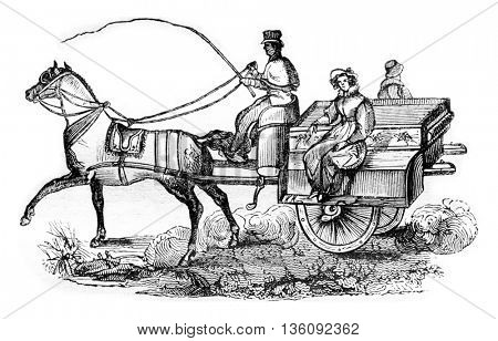 The Irish Omnibus, Jaunting car, vintage engraved illustration. Magasin Pittoresque 1836.