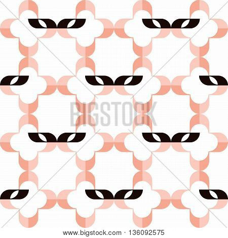 Pattern of stylized domino masks and pink quatrefoils on white background. Seamless repeat.