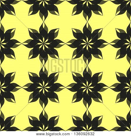 Abstract pattern of stylized semitransparent black eight-petal flowers on yellow background. Seamless repeat.