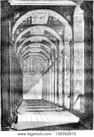 Raphael lodge at the Vatican, vintage engraved illustration. Magasin Pittoresque 1836.