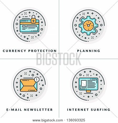Currency protection planning e-mail newsletter internet serfing. A set of four colored in gray orange and blue flat vector illustrations circle icons.