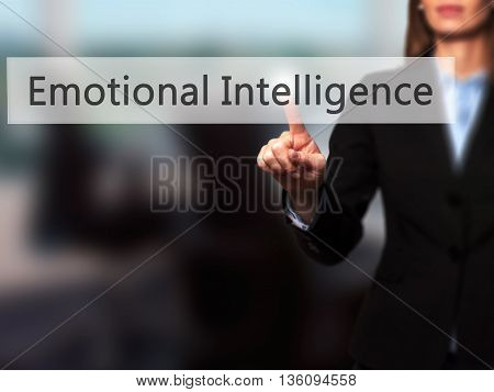 Emotional Intelligence - Businesswoman Hand Pressing Button On Touch Screen Interface.