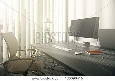 Closeup of workplace with swivel-chair wooden desk blank computer monitor and window with blinds and city view. Mock up 3D Rendering