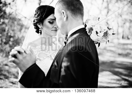 Close Up Portrait Of Young Stylish Weding Couple