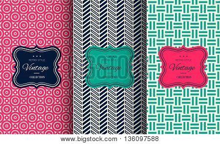 Elegant seamless pattern set. Vector illustration for fashion design. Packing element for label, background, wallpaper in trendy linear style. Cafe, pastry shop, sweet-shop menu template Retro vintage