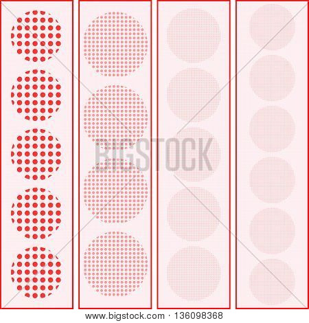 geometric pattern with red circles and semi-circles