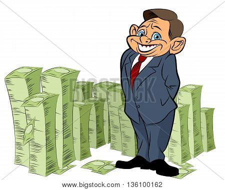 Vector illustration of a banker with money