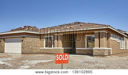 New Home Construction For Sale With Sold Sign
