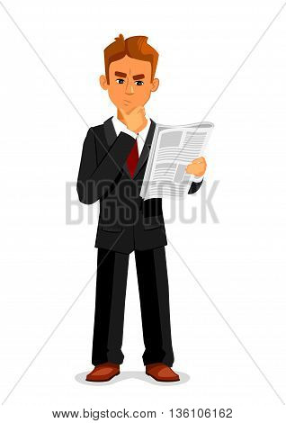 Cartoon thoughtful businessman is reading newspaper. Full length illustration of standing young man in a business suit is reading newspaper and touching a chin in confusion