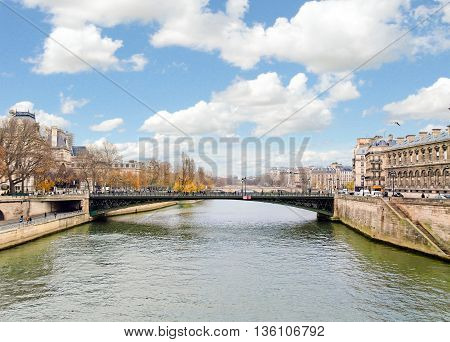 A view of Seine river in Paris, France in winter day.