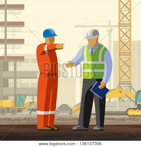 Construction Worker And Manager At Site