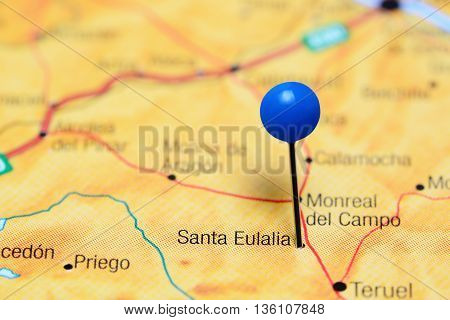 Santa Eulalia pinned on a map of Spain
