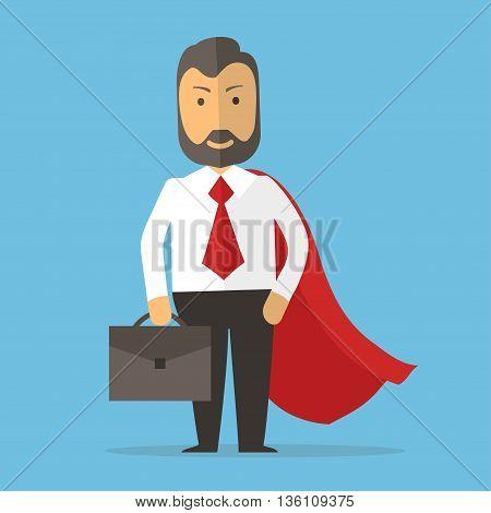 Businessman superhero - Business concept cartoon illustration isolated on blue