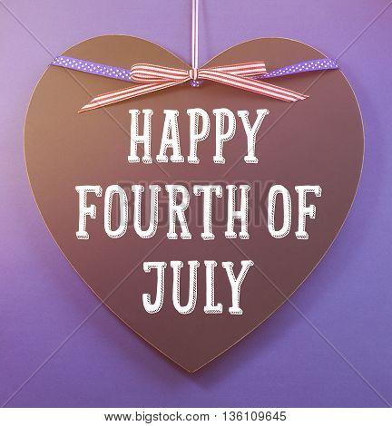 Fourth Of July Greeting On Heart Shape Blackboard